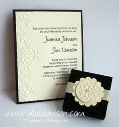 Stampin' Up!  Wedding Invitation  Julie Davidson  Simply Beautiful! Embossing just the edges
