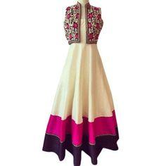 Buy Banglori Silk Cream Pink Long Gown