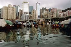 People living on the water, Causeway Bay, Hong Kong