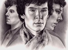 A drawing of Benedict Cumberbatch as Sherlock. [If you know who the artist is, please let me know.]