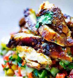 Grilled Chicken Sharwarma and Israeli Salad