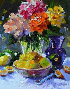 LIMONES y rosas, impresión del arte de la pintura original, florero púrpura