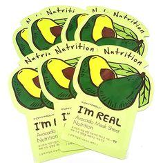 TONYMOLY I'm Real Facial Mask Sheet Avocado 21g per Sheet 3/7/15/33 Sheets Lot #Tonymoly