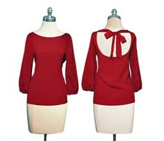 Ruby Bowtie Hoilday Blouse: Perfect Christmas top!