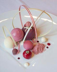Elaborate desserts by Roger van Damme at the lunch-only restaurant Het Gebaarin Belgium.