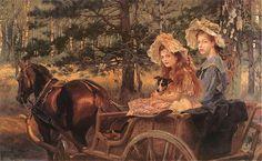 Wojciech Kossak. Portret córek artysty, Marii i Magdaleny.   1911. Olej na płótnie. 120 x 200 cm.   Własność prywatna.