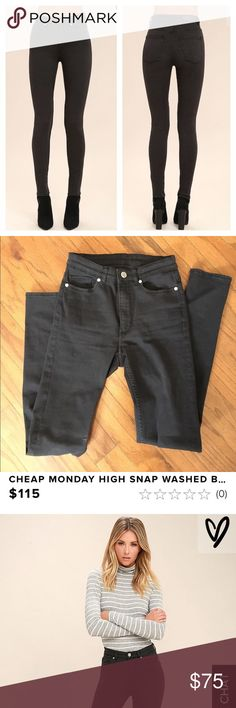 Cheap Monday high snap washed black skinny jeans Great condition! Worn once haven't washed them yet but I will before sending. They were just worn to work. I don't wear them because I bought a pair of COH that fit me better. These are true to size so if you're a 26 these should fit. They were purchased from Lulu's for $115 and are still available online. The model wears size 25. Cheap Monday Jeans Skinny