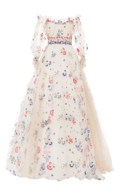 Shop Off-The-Shoulder Embroidered Gown. This **Luisa Beccaria** gown features an a-line silhouette with a ruffled off the shoulder neckline, puff short sleeves and allover threadwork embroidery in a floral motif. Pastel Floral Dress, Floral Chiffon Dress, Floral Dresses, Print Chiffon, Pink Dress, Pastel Dresses, Chiffon Dresses, Pastel Pink, Ruffle Dress