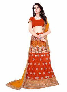 Brick Red Silk A Line Lehenga Choli Online With Lace Work Dupatta ,Indian Dresses