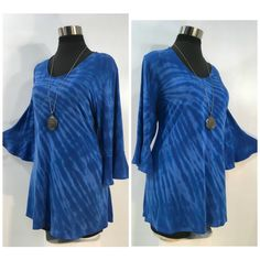 Plus size blue tie dye tencel top with flounced sleeves and scoop neck. by qualicumclothworks on Etsy Blue Tie Dye, Tie Dyed, Tie Dye Tops, Shibori Tie Dye, Blue Fabric, Cotton Spandex, Scoop Neck, Cold Shoulder Dress, Plus Size