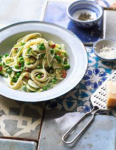 Courgette and pancetta carbonara - try with zucchini pasta ribbons, bacon and parmesan