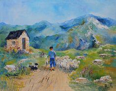 Tableau Le berger des Pyrénées @peintures-axelle-bosler : Peintures par peintures-axelle-bosler