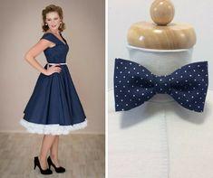 4ff57e6f732e ADELE retro šaty denim s puntíkem. lodičkový výstřih 3 4 rukáv kolová sukně  pásek
