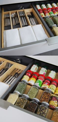 New Stainless Steel, Contemporary Drawers and Roll-Out Shelves from Dura Supreme showcasing a design that combines the metal drawer accessories with the wood drawer accessories - Utensil Storage  Spice Rack organizer