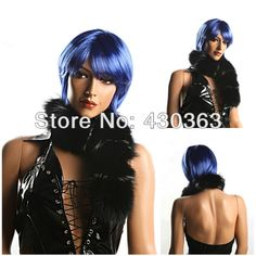 Short Blue Wig Party Cosplay or Ball Fan Wig Cheap Wig