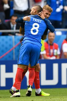 #EURO2016 France's forward Antoine Griezmann celebrates with France's forward Dimitri Payet after scoring their second goal during Euro 2016 round of 16...