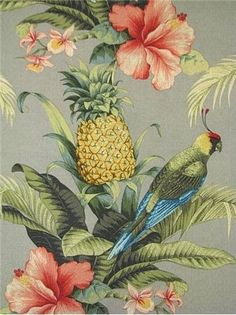 Tommy Bahama Fabric - Tropical Outdoor fabric for outdoor seat covers, pillow covers, table top or outdoor drapery panels. V x H Treated to resist mildew and fading for up to 500 direct sunlight hours. Tropical Outdoor Fabric, Tropical Home Decor, Tropical Colors, Tropical Pattern, Tropical Houses, Tropical Interior, Tropical House Design, Tropical Prints, West Indies Decor