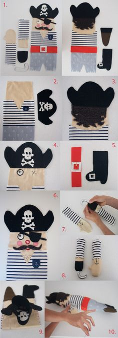 "pirate doll tutorial - since Shepherd is ""the pirates"" Animal Sewing Patterns, Doll Patterns, Puppet Patterns, Sewing For Kids, Diy For Kids, Free Sewing, Softies, Sewing Crafts, Sewing Projects"