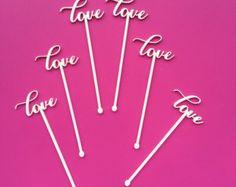 LOVE, Wedding, Bridal Shower, Calligraphy Swizzle Sticks, Laser Cut, Acrylic, 6 Ct., Valentine's Day Stir Sticks, Drink Stirrers