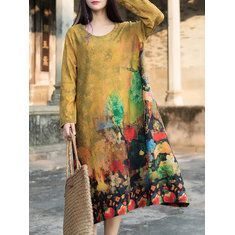 Hot-sale O-NEWE Vintage Stand Collar 3/4 Sleeves Printed Dresses { - NewChic Mobile