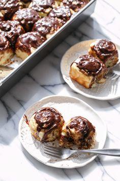 Mini Chocolate Peanut Butter Cinnamon Rolls Recipe with Chocolate Glaze