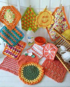 Orange Dishcloth Set Crochet Pattern