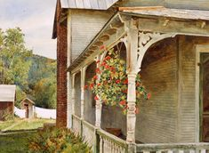 Side Porch Geraniums is a limited edition offset lithograph of a watercolor by David Armstrong. Image size is 17 x 24 Printed on acid free cotton rag paper. David Armstrong, Side Porch, Cool Artwork, Amazing Artwork, Geraniums, Diy Craft Projects, Large Prints, Fractals, Gazebo
