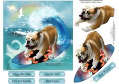 Surfing Fun Bulldog Topper with Decoupage | Craftsuprint