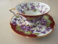 Mitterteich Bavaria Germany Tea Cup & Saucer Vintage| Violet Flowers Motif