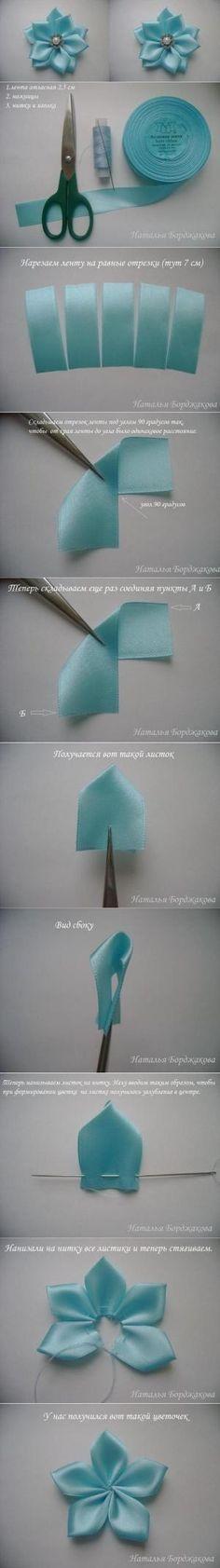 DIY Pointed Petals Ribbon Flower by hyolori