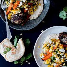 Ottolenghi's Lamb Kofta with Corn, Zucchini & Roasted Carrot Salad and Homemade Hummus | The Brick Kitchen Roasted Carrot Salad, Roasted Carrots, Pomegranate Molasses, Homemade Hummus, Yotam Ottolenghi, Feta, Zucchini, Lamb, Brick