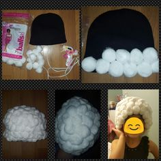 100th day wig for child.  Super easy. U will need cotton balls (I got two bags of 70 and used a bag and a half) a small beanie hat for child. Lots of hot glue and a hot glue gun. Stretch beanie as u place so no gaps. I sprayed with hair spray after to hold in place and let dry in a place that gets some air so doesn't smell too strong when child wears it. :) happy 100th day of school:) old lady in the making.  Thanks for pinning.