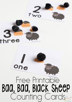 Baa, Baa, Black Sheep is a fun nursery rhyme for kids! These FREE printable Baa, Baa, Black Sheep counting cards for numbers 1-10 are great for preschoolers who are working on one-to-one correspondence. Get your free printable today and let your preschoolers practice their counting with these sheep. #preschool #counting #countingactivity #countingcards #freeprintable #nurseryrhyme #math #mathactivity