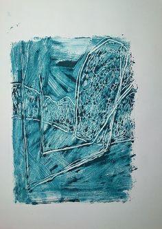 """Monotypia farbą olejną na papierze A3  """"Cienie drzew w górach""""  OIL MONOTYPE ON PAPER"""