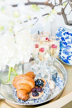 Gold-Bar-Cart-Silver-Tray-Champagne-White-Hydrangeas