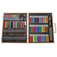 Art Set 130 Pcs Piece Drawing Case Kit Deluxe Wood Artist Painting Supplies NEW #ArtSet