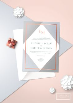 Geometric Rose Gold Foil Wedding Invitation Design from Cartalia - perfect for your modern wedding theme! Available in any needed colour!