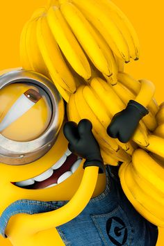 ↑↑TAP AND GET THE FREE APP! Art Creative Minions Bananas Funny Cartoon Yellow Smile Emotions HD iPhone 4 Wallpaper