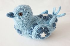 Crochet blue bird - african flower bird