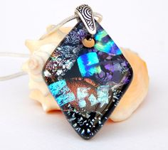 Large Diamond Shape Mixed Dichroic Glass Necklace - Multicolor Art Glass Pendant - Fused Glass Jewelry by TremoughGlass on Etsy