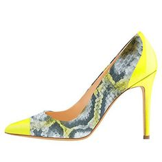 3705624aea Onlymaker Women's Pointed Toe High heel Snake Colorful Patent Leather Dress  Pump Yellow - Little Shoe Boutique