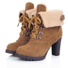 Retro Casual Chunky Heel Women's Combat Boots With Solid Color Lace-Up and Buckle Design