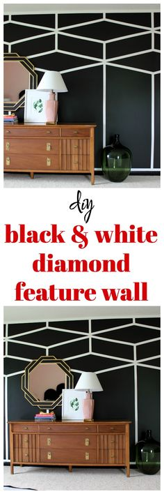 This is stunning! You can create this DIY Black and White Diamond Feature Wall with painter's tape and paint!