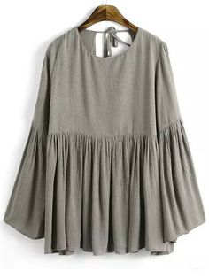 Khaki+Bell+Sleeve+Knotted+Loose+Blouse+22.00