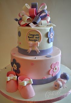 Pink and Purple Baby Shower by Stephanie (Cake Fixation), via Flickr