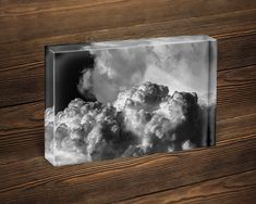 Acrylic black and white cloud photo block display, small photography artwork for office desk