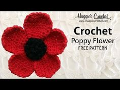 Poppy Flower Free Crochet Pattern - Right Handed. Materials: Worsted Weight yarn such as . Left Handed Video: http:youtu Crochet Poppy Pattern, Crochet Flower Tutorial, Crochet Flower Patterns, Crochet Flowers, Knitting Patterns, Left Handed Crochet, Wooden Crochet Hooks, Crochet Hat With Brim, Hand Crochet