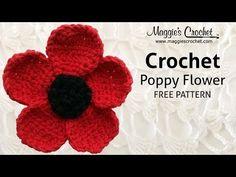Poppy Flower Free Crochet Pattern from Maggie Weldon - Right Handed - YouTube