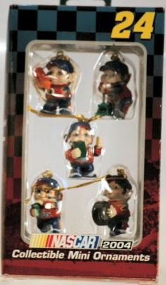 2004 - Trevco / NASCAR - Jeff Gordon #24 - Elf Pit Crew Collectible Mini Ornaments - Set of 5 - Out of Production - Limited Edition - Collectible by Trevco. $37.77. 2004 - Trevco / NASCAR - DuPont - Jeff Gordon #24 - Monte Carlo - Mini Elf Racing Holiday Pit Crew - Set of 5 - Christmas Ornaments - Ready to Hang - Out of Production - Rare Set - Highly Popular - New - Limited Edition - Collectible - Box has minor shelf wear Jeff Gordon, Monte Carlo, Nascar, Hanging Out, Shelf, Racing, Outdoors, Popular, Baseball Cards