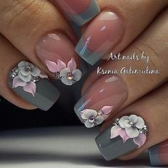 Nail art Christmas - the festive spirit on the nails. Over 70 creative ideas and tutorials - My Nails Grey Nail Designs, Beautiful Nail Designs, Beautiful Nail Art, Cool Nail Designs, Flower Designs For Nails, Classy Nail Designs, Fabulous Nails, Perfect Nails, Gorgeous Nails